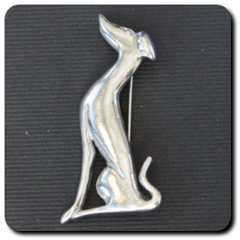 Sitting Greyhound Brooch