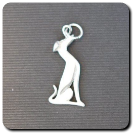 Small sitting greyhound pendant