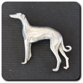 Standing Greyhound Brooch